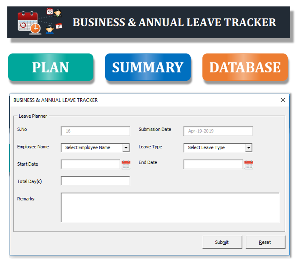 Business & Annual Leave Tracker