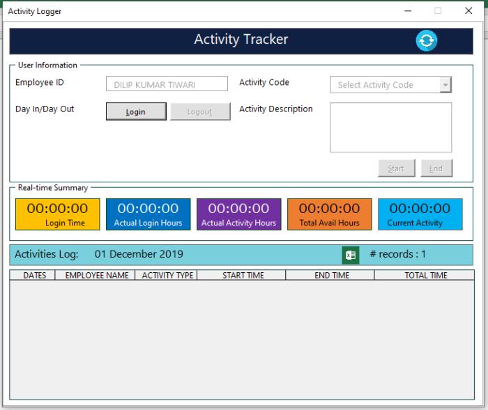 Employee Activities Tracker