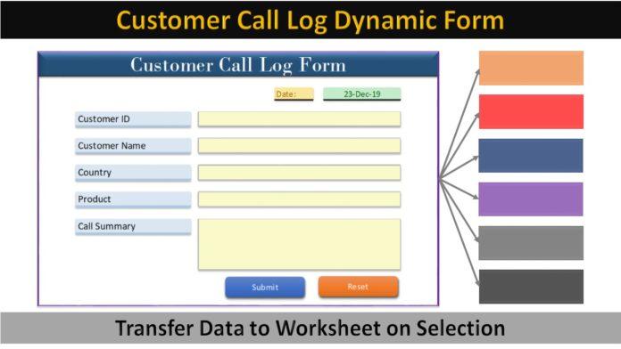 Customer Call Log Dynamic Form
