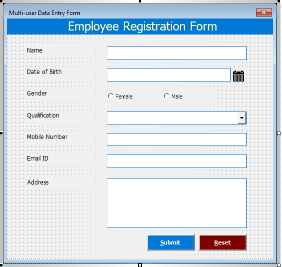 Multi-User Data Entry Form in Excel