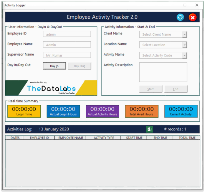 Employee Activities Tracker version 2.0