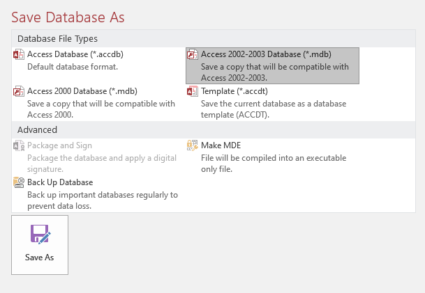 Save As Database
