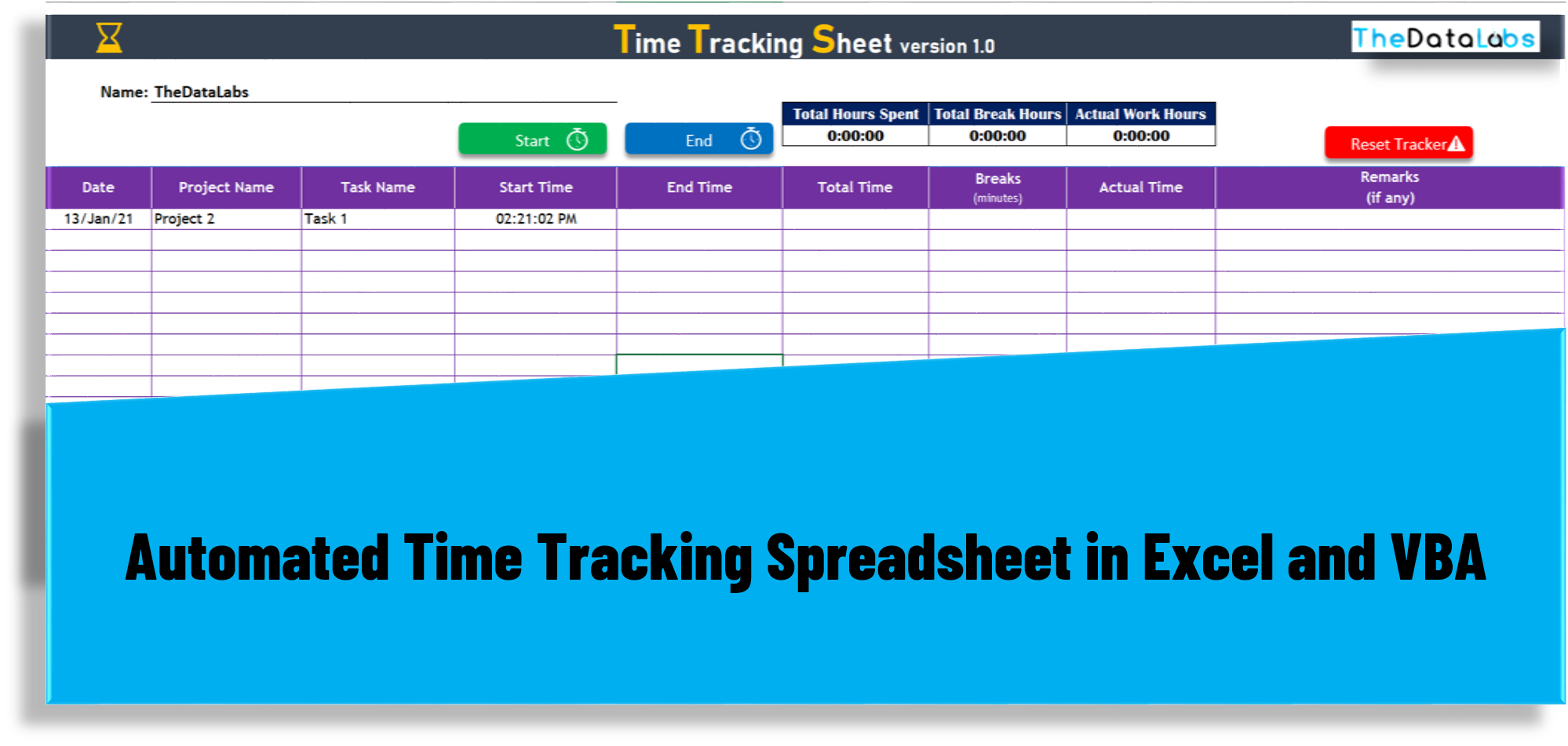 Time Tracking Sheet in Excel and VBA   TheDataLabs